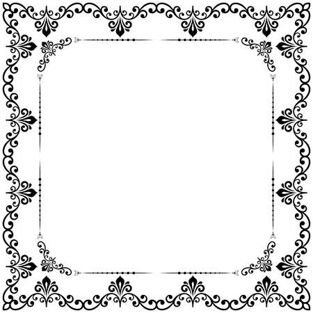 Classic square frame with arabesques and orient elements. Abstract ornament with place for text. Vintage black and white pattern