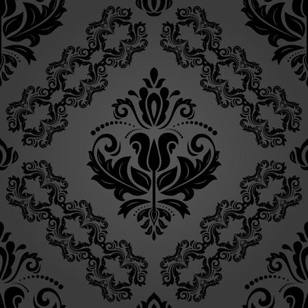 Klassiek naadloos vector donker patroon. Damast oriënteren sieraad. Klassieke vintage achtergrond. Oriënteer ornament voor stof, behang en verpakking