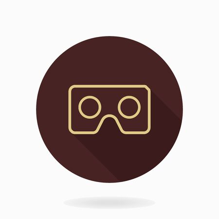 Fine vector icon with golden VR icon in circle. Flat design with long shadow. Virtual reality icon