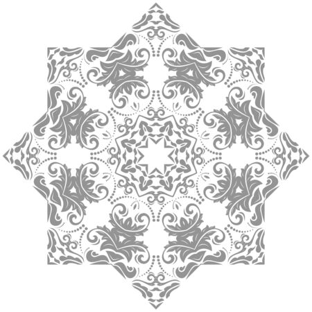Elegant vintage vector silver ornament in classic style. Abstract traditional pattern with oriental elements. Classic vintage pattern