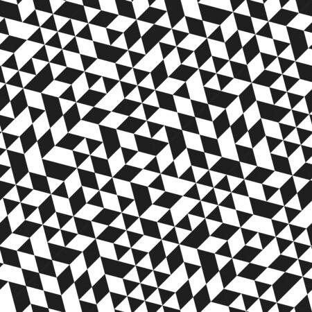 Geometrisches Vektormuster mit schwarzen und weißen Dreiecken. Geometrische moderne Verzierung. Nahtloser abstrakter Hintergrund
