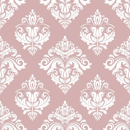 Classic seamless pattern. Damask orient ornament. Classic vintage purple and white background