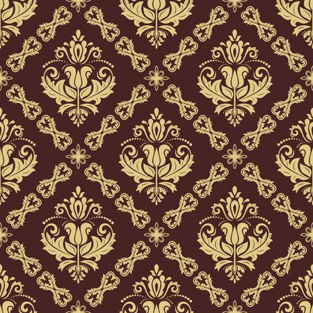 Classic seamless vector pattern. Damask orient ornament. Classic vintage brown and golden background. Orient ornament for fabric, wallpaper and packaging