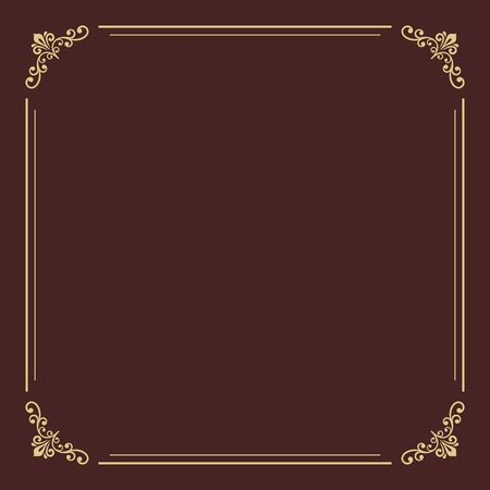 Classic vector golden square frame with arabesques and orient elements. Abstract ornament with place for text. Vintage golden pattern