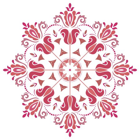 Elegant vintage vector round red and pink ornament in classic style. Abstract traditional pattern with oriental elements. Classic vintage pattern