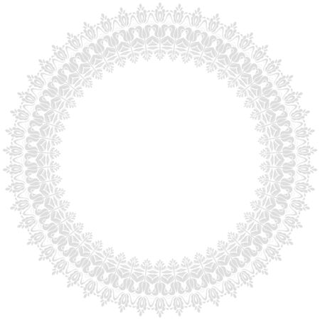 Oriental vector round light silver frame with arabesques and floral elements. Floral border with vintage pattern. Greeting card with place for text  イラスト・ベクター素材