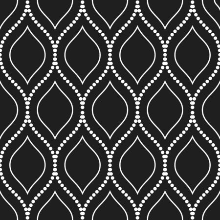 Seamless vector dotted black and white ornament. Modern dark background. Geometric modern dotted white pattern