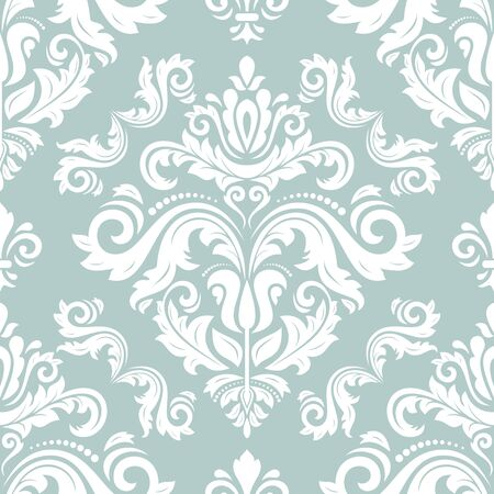 Orient vector classic pattern. Seamless abstract background with vintage elements. Orient background. Light blue and white ornament for wallpaper and packaging