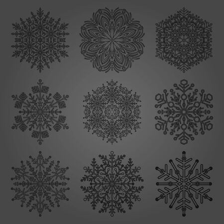 Set of vector black snowflakes. Black winter ornaments. Snowflakes collection. Snowflakes for backgrounds and designs