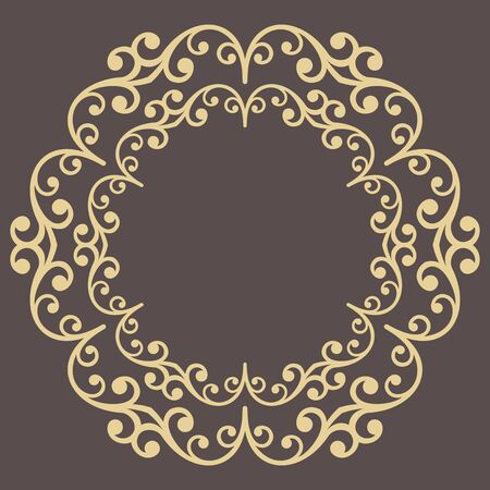 Elegant vintage vector round golden ornament in classic style. Abstract traditional pattern with golden oriental elements. Classic vintage pattern Иллюстрация