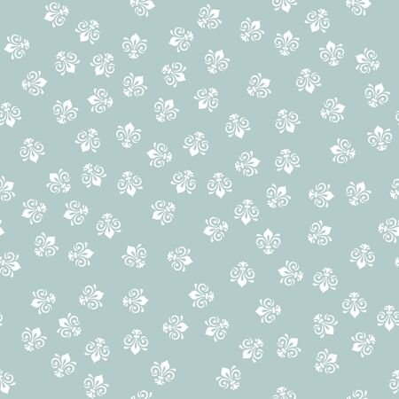 Seamless vector pattern. Modern geometric ornament with white royal lilies. Classic vintage background