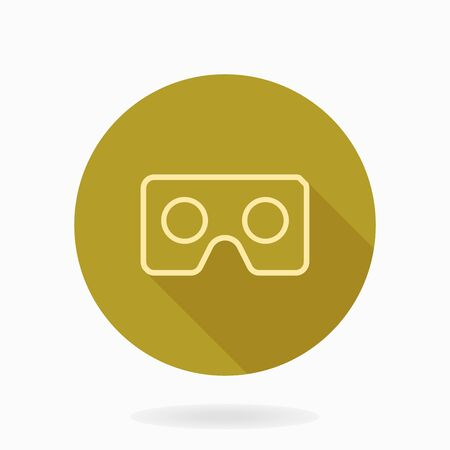 Fine vector icon with golden VR in circle. Flat design with long shadow. Virtual reality icon