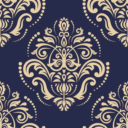 Orient vector classic pattern. Seamless abstract navy blue and golden background with vintage elements. Orient background. Ornament for wallpaper and packaging