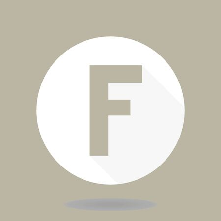 Fine vector light letter F in the circle. Flat design and long shadow
