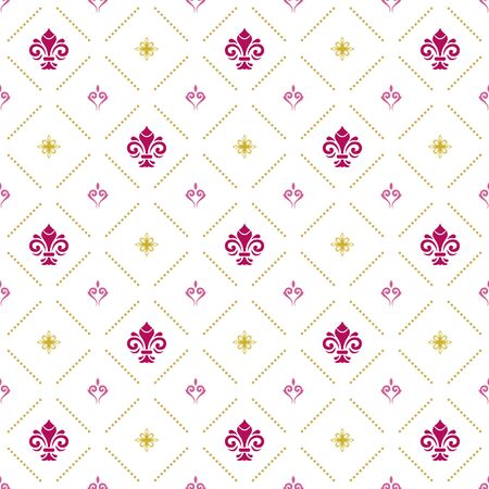 Seamless vector pattern. Modern geometric ornament with purple royal lilies. Classic vintage background