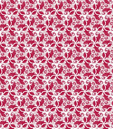 Floral vector red and white ornament. Seamless abstract classic background with flowers. Pattern with repeating floral elements. Ornament for fabric, wallpaper and packaging