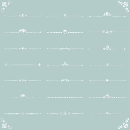 Vintage set of vector decorative elements. Horizontal white separators in the frame. Collection of different ornaments. Classic patterns. Set of vintage patterns