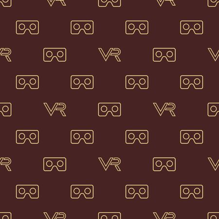 Seamless vector pattern with VR icon. Virtual reality golden icon  イラスト・ベクター素材