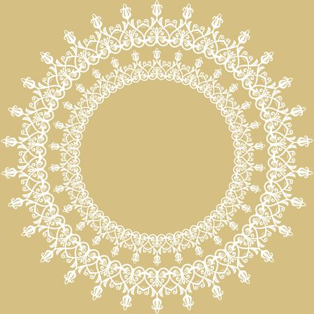 Elegant vintage vector ornament in classic style. Abstract traditional pattern with oriental elements. Classic vintage round white pattern