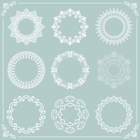 Vintage set of vector round elements. Different elements for design frames, cards, backgrounds and monograms. Classic patterns. Set of vintage round white patterns Иллюстрация