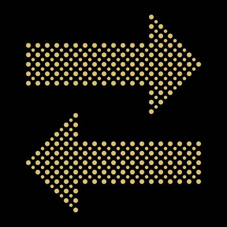 Fine vector dotted golden arrows. Dotted elements for web, infographic and diagrams  イラスト・ベクター素材