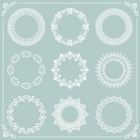 Vintage set of vector round elements. Different white round elements for design frames, cards, backgrounds and monograms. Classic patterns. Set of vintage patterns