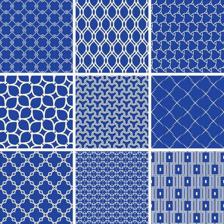 Set of vector seamless geometric patterns for your designs and backgrounds. Geometric abstract ornament. Modern blue and white ornaments with repeating elements