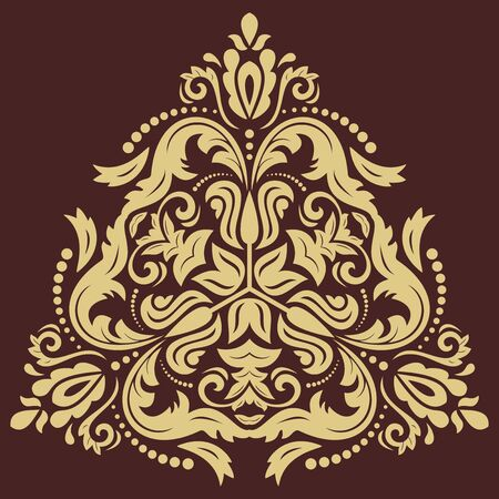 Oriental vector triangular golden pattern with arabesques and floral elements. Traditional classic ornament. Vintage pattern with arabesques