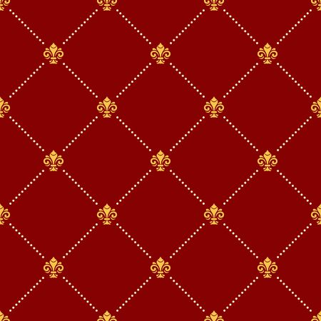 Seamless vector pattern. Modern geometric red and golden ornament with royal lilies. Classic vintage background