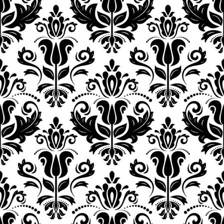 Classic seamless vector black and white pattern. Damask orient ornament. Classic vintage background. Orient ornament for fabric, wallpaper and packaging