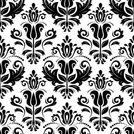 Modello bianco e nero classico senza cuciture. Ornamento damascato orientale. Classico sfondo vintage. Ornamento orientabile per tessuto, carta da parati e confezione