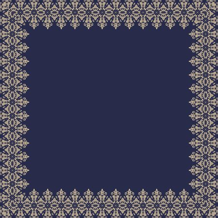 Classic vector golden square frame with arabesques and orient elements. Abstract ornament with place for text. Vintage pattern  イラスト・ベクター素材