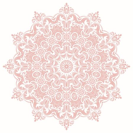 Elegant vintage vector round pink ornament in classic style. Abstract traditional pattern with oriental elements. Classic vintage pattern  イラスト・ベクター素材