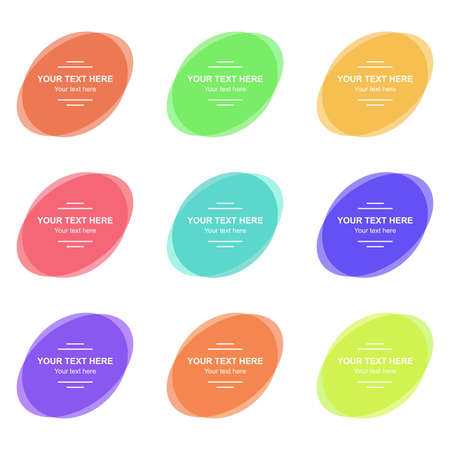 Set of vector colorful banners. Abstract vector colorful shapes for design. Banners with sample text.  イラスト・ベクター素材
