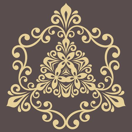 Elegant vintage vector golden triangular ornament in classic style. Abstract traditional pattern with oriental elements. Classic vintage pattern