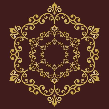 Elegant vintage vector round golden ornament in classic style. Abstract traditional pattern with oriental elements. Classic vintage pattern
