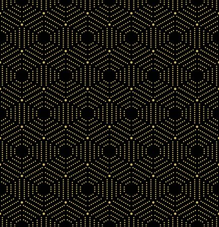 Geometric repeating vector ornament with hexagonal dotted golden elements. Geometric modern ornament. Seamless abstract modern pattern