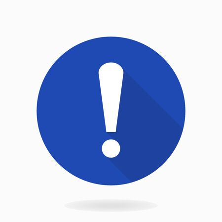 White vector exclamation flat icon in the blue circle. Flat design and long shadow Çizim