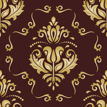 Classic seamless vector pattern. Damask orient golden ornament. Classic vintage brown and giolden background. Orient ornament for fabric, wallpaper and packaging