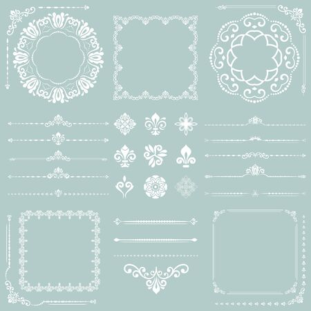Vintage set of vector horizontal, square and round elements. Different elements for backgrounds, frames and monograms. Classic patterns. Set of vintage white patterns