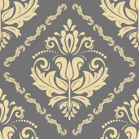 Orient vector classic pattern. Seamless abstract background with vintage elements. Orient golden background. Ornament for wallpaper and packaging  イラスト・ベクター素材