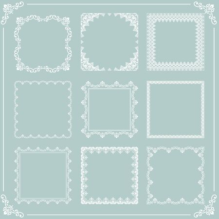 Vintage set of vector elements. Different square elements for decoration and design frames, cards, menus, backgrounds and monograms. Classic patterns. Set of white patterns 일러스트