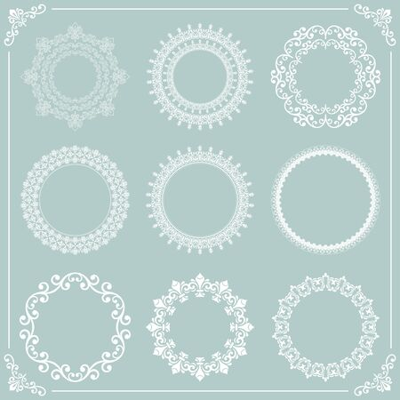 Vintage set of vector round white elements. Different elements for design frames, cards, menus, backgrounds and monograms. Classic patterns. Set of vintage patterns