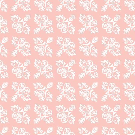 Orient vector classic pink and white pattern. Seamless abstract background with vintage elements. Orient background. White ornament for wallpaper and packaging