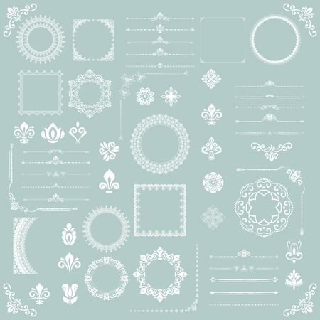 Vintage set of vector horizontal, square and round elements. Different elements for backgrounds, frames and monograms. Classic white patterns. Set of vintage patterns