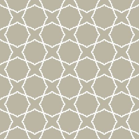 Seamless vector white ornament in arabian style. Geometric abstract beige and white background. Pattern for wallpapers and backgrounds