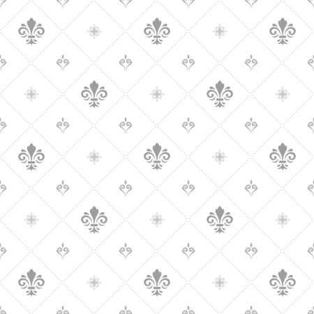 Seamless vector pattern. Modern geometric light silver ornament with royal lilies. Classic vintage background  イラスト・ベクター素材