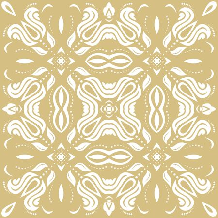 Orient vector classic pattern. Seamless abstract golden and white background with vintage elements. Orient background. Ornament for wallpaper and packaging  イラスト・ベクター素材