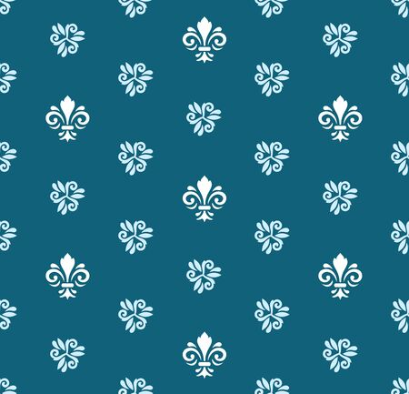 Seamless vector pattern. Modern geometric ornament with grey and white royal lilies. Classic vintage background  イラスト・ベクター素材