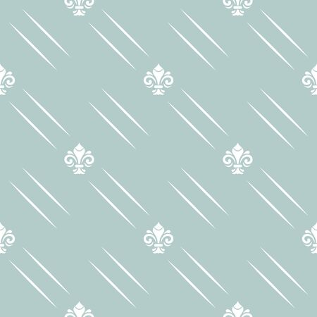 Seamless vector pattern. Modern geometric blue and white dotted ornament with royal lilies. Classic vintage background
